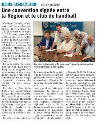 Dauphiné Libéré du 27-06-2019- Handball de Guillerand
