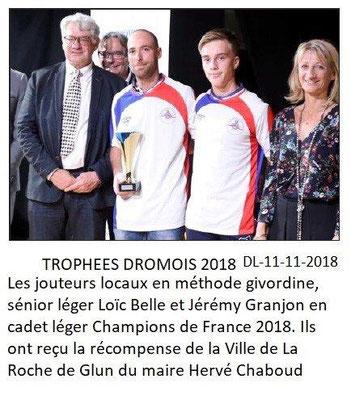 Dauphiné Libéré du 11-11-2018 -Trophées Drômois-Les jouteurs de LRG