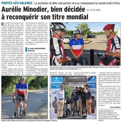 Dauphiné Libéré du 14-07-2018- En route pour le championnat du monde cyclisme