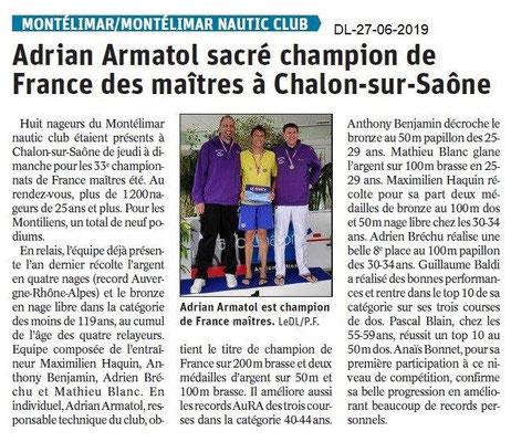 Dauphiné Libéré du 27-06-2019- Nautic club Montélimar