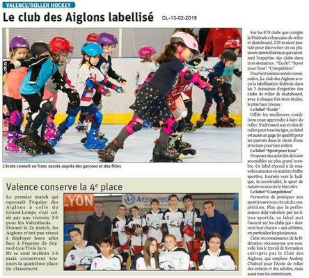 Dauphiné Libéré du 13-02-2019- Les Aiglons de Valence Labelisés