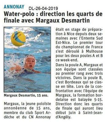 Le Dauphiné Libéré du 26-04-2019- Water-polo à Annonay