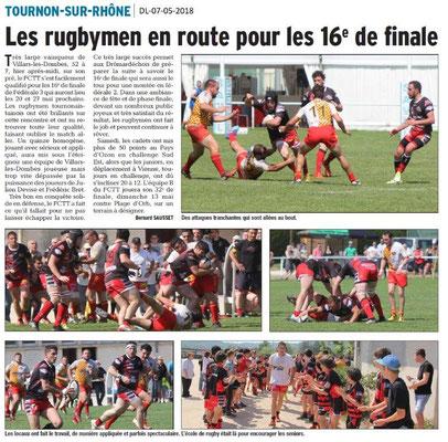 Dauphiné Libéré du 07-05-2018-Rugby-Tournon-sur-Rhône