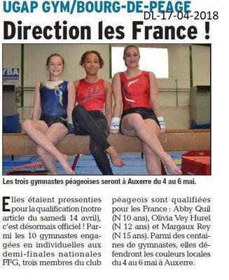 Dauphiné Libéré du 17-04-2018-UGAP-GYM direction France-Bourg de Péage