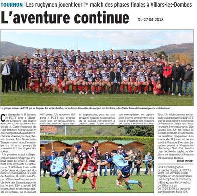Dauphiné Libéré du 27-04-2018-RUGBY-Tournon