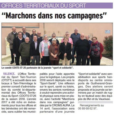 Dauphiné Libéré du 30-03-2018-Tain-l'Hermitage CA du CDOTS 07-26