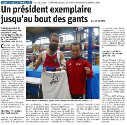 Le Dauphiné Libéré du 03-04-2019- Savate-Boxe française de Valence