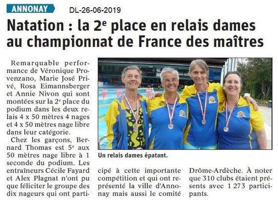 Dauphiné Libéré du 26-06-2019- Natation d'Annonay