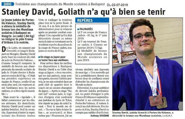 Dauphiné Libéré du 22-07-2019- Judo Portes-lès-Valence