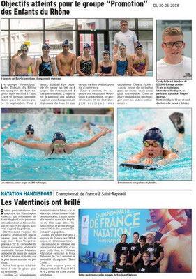 Dauphiné libéré du 30-05-2018-Handisport Natation - Valence
