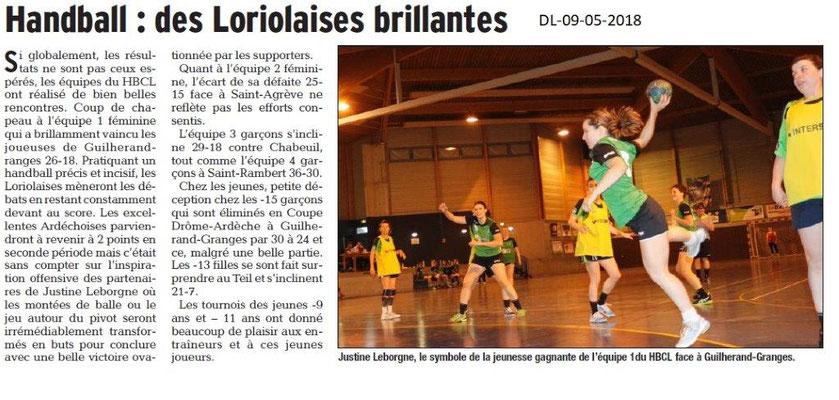 Dauphiné Libéré du 09-05-2018-Handball- Loriol