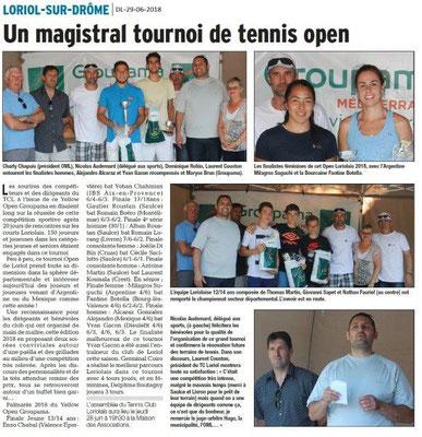 Dauphiné Libéré du 29-06-2018- Tournois de tennis