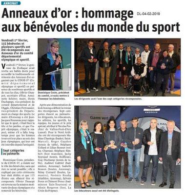Dauphiné Libéré du 04-02-2019- Anneaux d'OR à Annonay