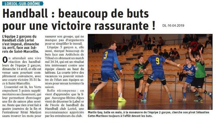 Le Dauphiné Libéré du 16-04-2019- Handball de Loriol
