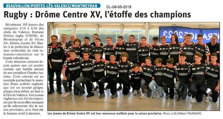 Le Dauphiné Libéré du 08-05-2019- Rugby Drôme Centre XV