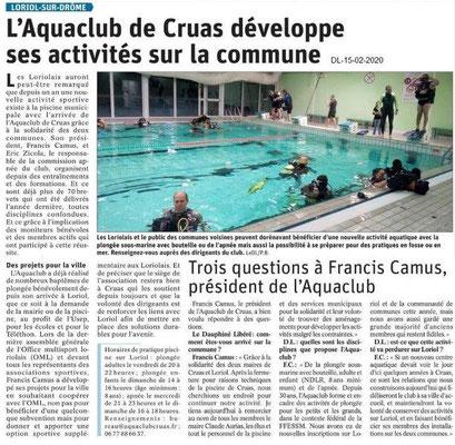 Le Dauphiné Libéré du 15-02-2020- Aquaclub de Cruas à Loriol