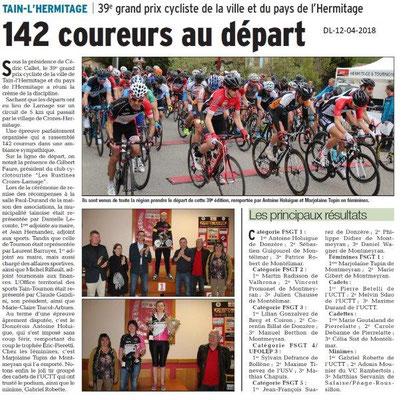 Dauphiné Libéré du 12-04-2018-39e Grand Prix cycliste à Tain-l'Hermitage