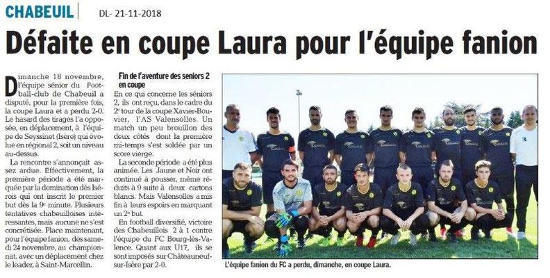 Dauphiné Libéré le 21-11-2018- Foot Chabeuil