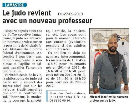 Dauphiné libéré du 27-09-2019- Judo à Lamastre