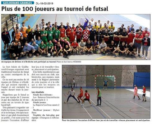 Dauphiné Libéré du 18-02-2019- Tournoi de futsal à GG