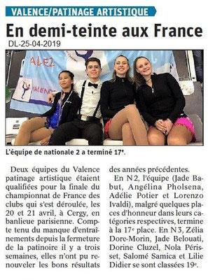 Le Dauphiné Libéré du 25-04-2019- Patinage artistique de Valence