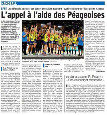 Dauphiné Libéré du 22-03-2018- Handball féminines