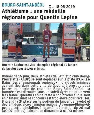 Dauphiné Libéré du 18-06-2019- Athlétisme BSA