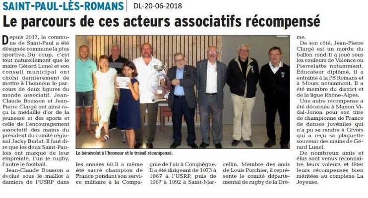 Dauphiné Libéré du 20-06-2018- Commune la plus sportive