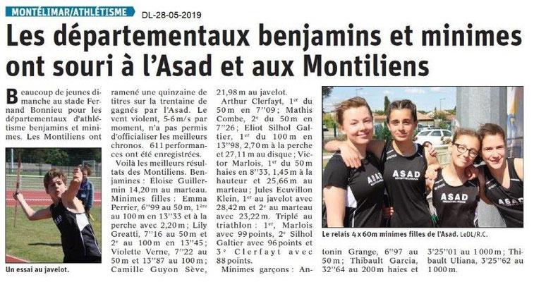 Le Dauphiné libéré du 28-05-2019- Athlétisme à Montélimar