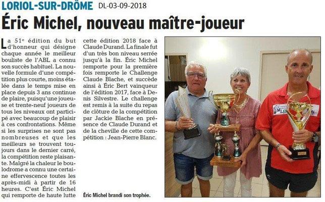 Dauphiné Libéré du 03-09-2018- Loriol, 51e édition du but d'honneur