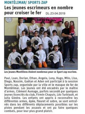 Le Dauphiné Libéré du 23-04-2019- Sport-zap escrime montiliens