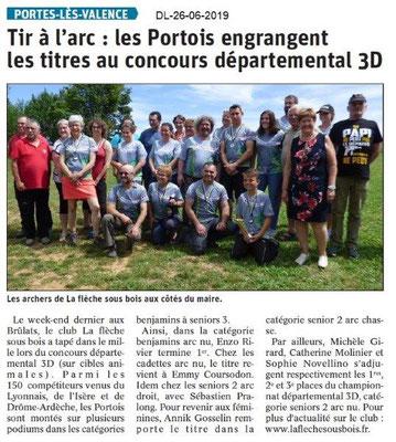 Dauphiné Libéré du 26-06-2019- Tir à l'arc portois
