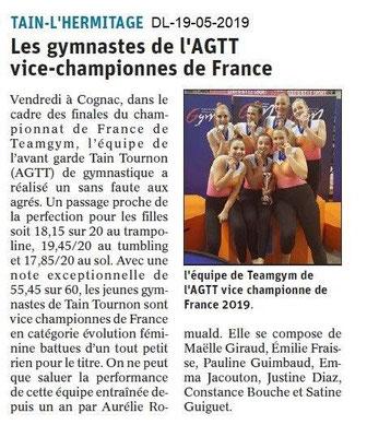 Le Dauphiné Libéré du 19-05-2019- Gymnastes de Tain Tournon