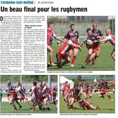 Dauphiné Libéré du 24-04-2018-RUGBY-Tournon sur Rhône