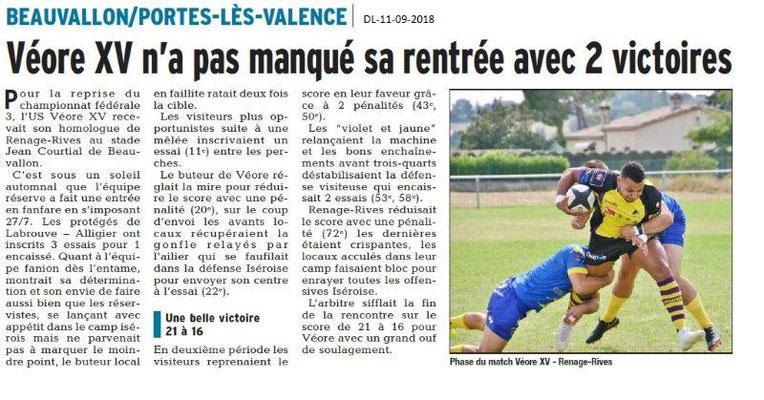 Dauphiné Libéré du 11-09-2018- Belle victoire pour Véore XV au Championnat fédérale 3. PLV