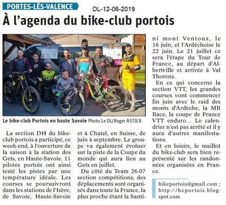 Dauphiné Libéré du 12-06-2019- Bike Club portois