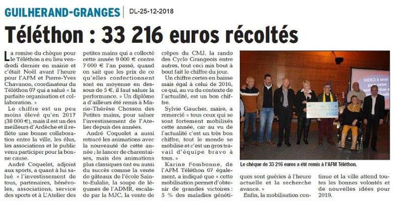 Dauphiné Libéré du 25-12-2018- Téléthon Guilherand