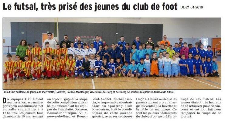 Dauphiné Libéré du 21-01-2019- Futsal à BSA