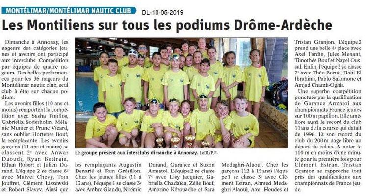 Le Dauphiné Libéré du 10-05-2019- Montélimar Nautic club