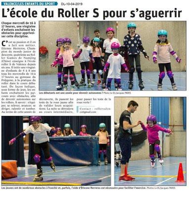Le Dauphiné Libéré du 10-04-2019- Ecole du Roller S à Valence