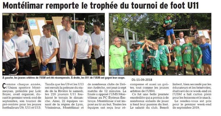 Dauphiné Libéré du 11-09-2018- Montélimar gagne le Tournoi de pré-rentrée footballeurs U11