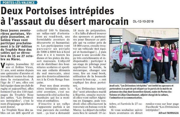 Dauphiné libéré du 12-10-2019- Deux aventurières Portoises