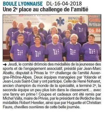Dauphiné Libéré du 16-04-2018-Challenge de l'Amitié-Privas