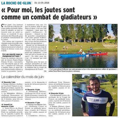 Dauphiné Libéré du 13-05-2018- Les Joutes à La Roche de Glun