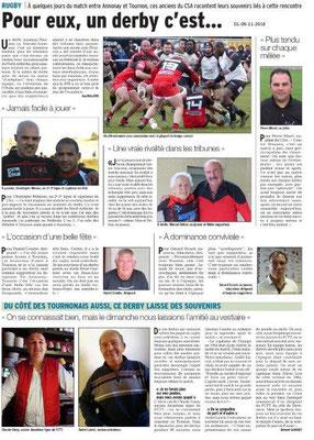 Dauphiné Libéré du 09-11-2018 - Rugby Annonay