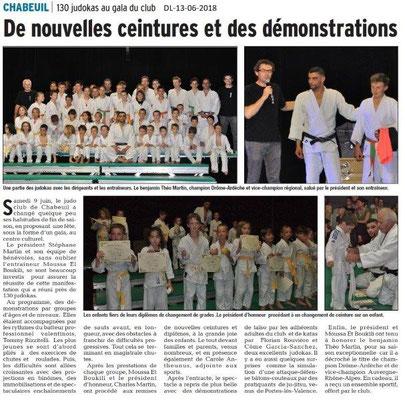 Dauphiné Libéré du 13-06-2018- Club de judo à CHABEUIL