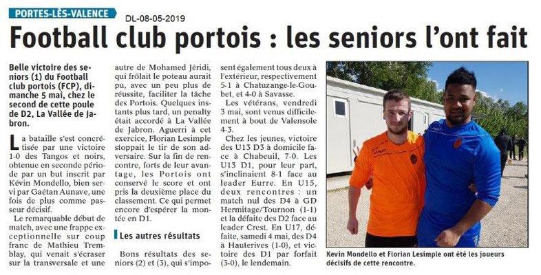 Le Dauphiné Libéré du 08-05-2019- Football Club portois
