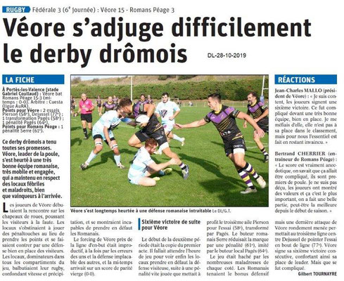le Dauphiné Libéré du 28-10-2019- Rugby Véore XV à PLV.