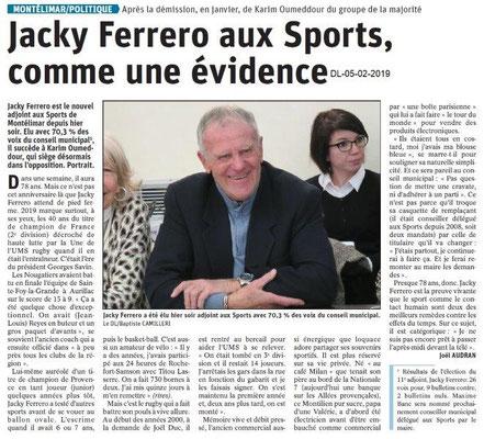 Dauphiné Libéré du 05-02-2019 - Nomination de l'Adjoint aux sports de Montélimar