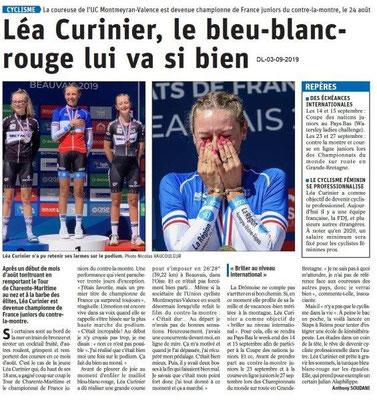 Dauphiné libéré du 03-09-2019- Cyclisme- Léa Curinier
